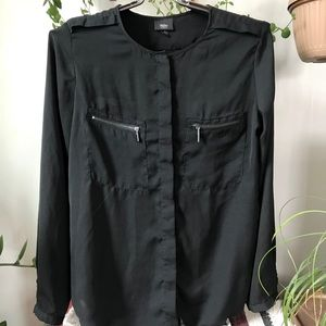 Mossimo Black Long Sleeve Button Blouse Zippers L